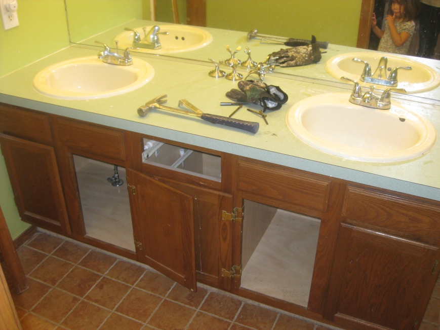 Aquamarine countertops.
