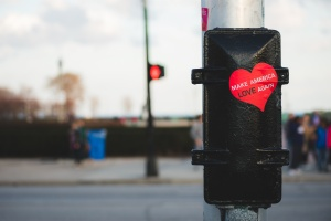 Make America Love Again heart sticker on post